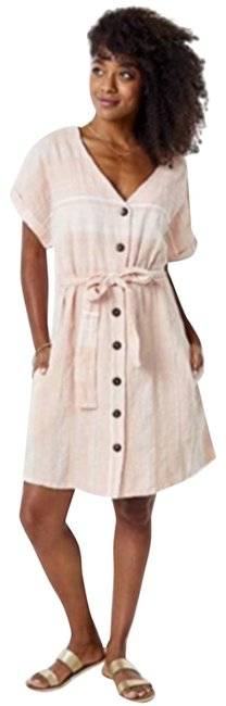 Item - Pink Linen Willow Guava Stripe Small Short Casual Dress Size 4 (S)
