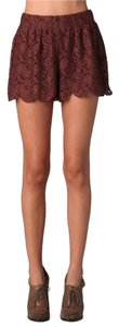 Free People Lace Scalloped Lined Mini Skirt Truffle Brown
