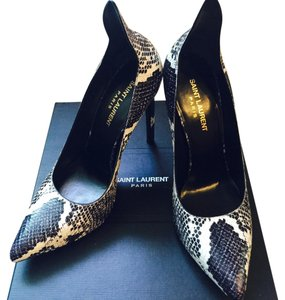 Saint Laurent Python Sexy Heels Leather Black And White Pumps