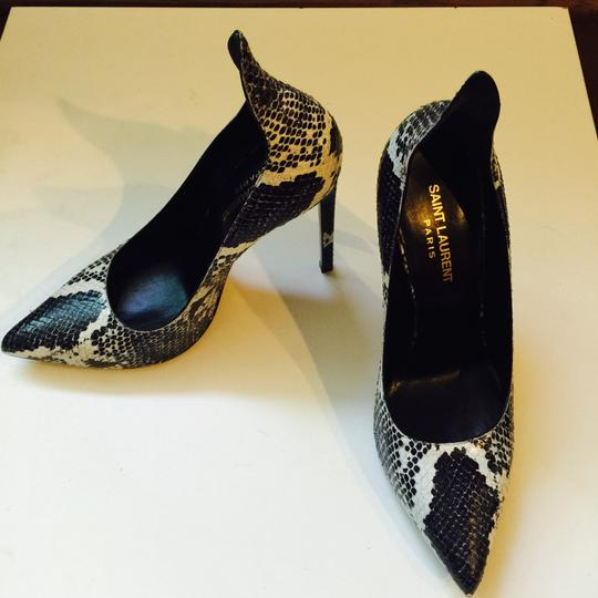 Saint Laurent Python Sexy Heels Leather Black And White Pumps Image 1