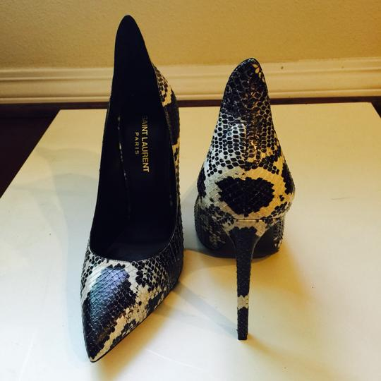 Saint Laurent Python Sexy Heels Leather Black And White Pumps Image 2