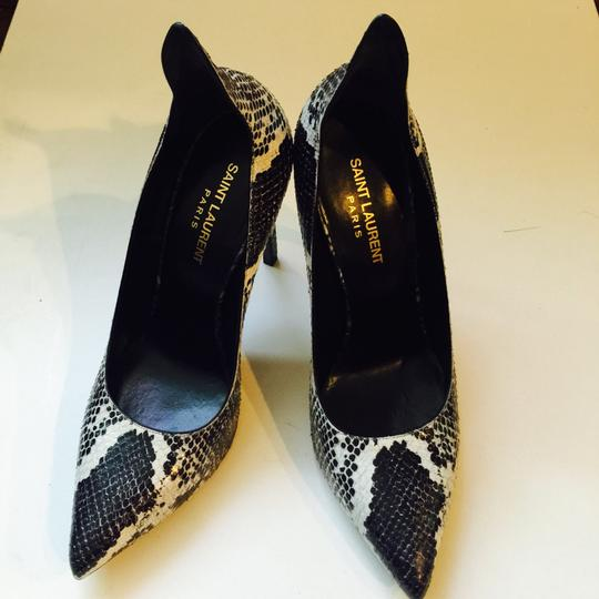 Saint Laurent Python Sexy Heels Leather Black And White Pumps Image 3