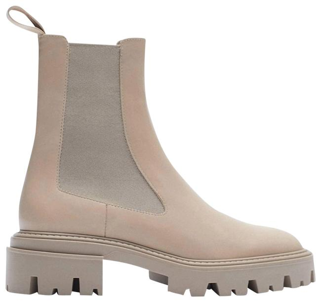Item - Cream Leather Treaded Low Heel Stretch Ankle Boots/Booties Size US 10 Regular (M, B)