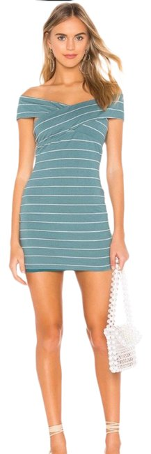 Item - Teal Striped Off The Shoulder Mini Short Casual Dress Size 4 (S)