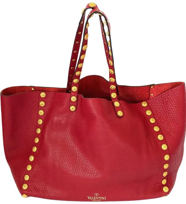 Item - With Gold Studs Red Lambskin Leather Shoulder Bag