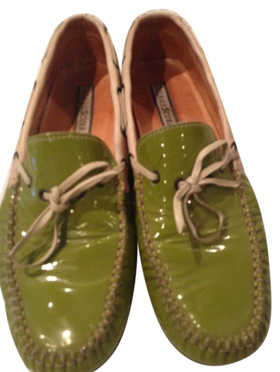 private label from local shoes store lime green patent leather and cream Flats