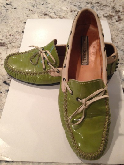 private label from local shoes store lime green patent leather and cream Flats Image 1