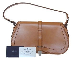 Prada England Saddle Vachetta Leather Shoulder Bag