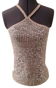 DKNY Embellished Date Night Sleeveless Evening Top Gray