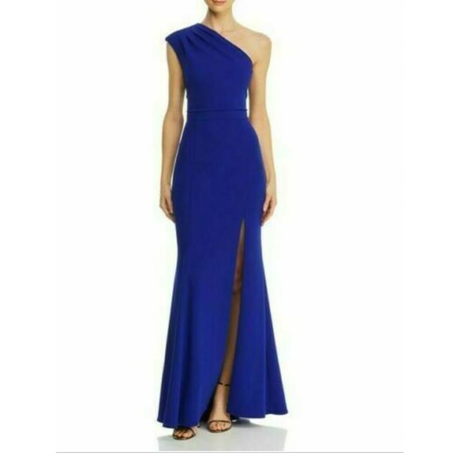 Item - Blue Pleated One Shoulder Sleeveless Long Gown Formal Dress Size 4 (S)