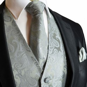 Brand Q Men's Paisley Pattern Design Tuxedo Waistcoast Vest + Necktie + Handkerchief Set Silver Gray - Please Make Sure To Msg