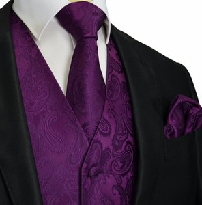 Brand Q Men's Paisley Pattern Design Tuxedo Waistcoast Vest + Necktie + Handkerchief Set Dark Purple - Please Make Sure To Msg