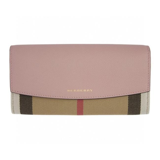 Item - Pink House Check Pattern Blended Fabrics Leather Wallet