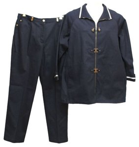 st. john St. John Sport 2-Pc. White Satin Trim Navy Blue Cotton Blend Pant Suit L 16