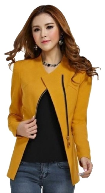 Preload https://item1.tradesy.com/images/yellow-zip-skinny-jacket-sleeve-blazer-x-large-but-fit-like-a-large-blouse-size-16-xl-plus-0x-2966140-0-0.jpg?width=400&height=650