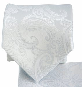 Brand Q New Men's White Paisley Design Self Tie Necktie And Handkerchief Set