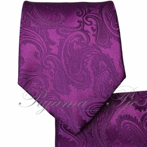 Brand Q New Men's Dark Purple Paisley Design Self Tie Necktie And Handkerchief Set
