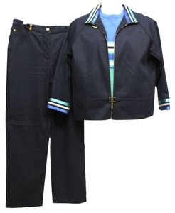 st. john St. John Sport Trimmed White 3-Pc. Navy Blue Cotton Spandex Blend Pant Suit L