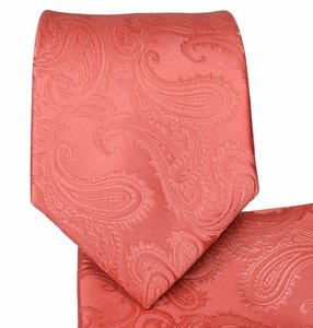 Brand Q Coral New Men's Orange Paisley Design Self Necktie and Handkerchief Set Tie/Bowtie