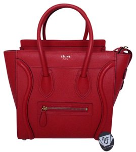 Céline Luggage Mini Micro Nano Phantom Trio Coquelicot Micro Luggage 2015 Tote in Red