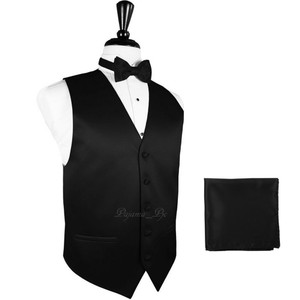 Brand Q Solid Men's Design Tuxedo Waistcoast Vest + Pre-tied Bowtie + Handkerchief Set Black - Please Make Sure To Msg Or Leave