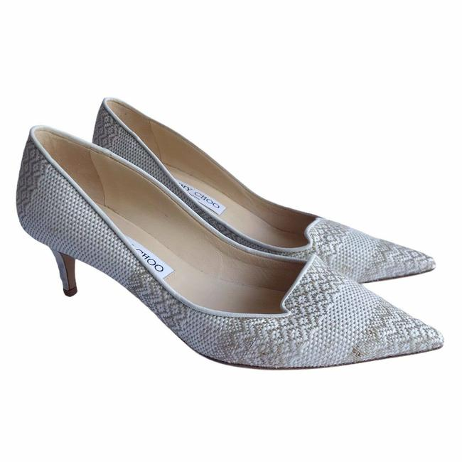 Item - White Marble Cream Tan Allure Kitten Heels 50mm Pointy Woven Textile Pumps Size EU 38.5 (Approx. US 8.5) Regular (M, B)