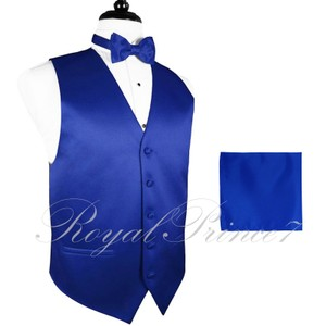 Brand Q Men's Paisley Pattern Design Tuxedo Waistcoast Vest + Necktie + Handkerchief Set Royal Blue - Please Make Sure To Msg A