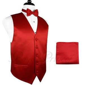 Brand Q Solid Men's Design Tuxedo Waistcoast Vest + Pre-tied Bowtie + Handkerchief Set Red - Please Make Sure To Msg Or Leave A
