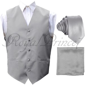 Brand Q Solid Men's Design Tuxedo Waistcoast Vest +neck Tie + Handkerchief Set Silver Gray - Please Make Sure To Msg Or Leave A