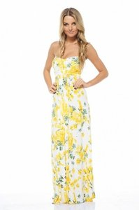 White and Yellow Maxi Dress by AX Paris Maxi Sundress Sweetheart