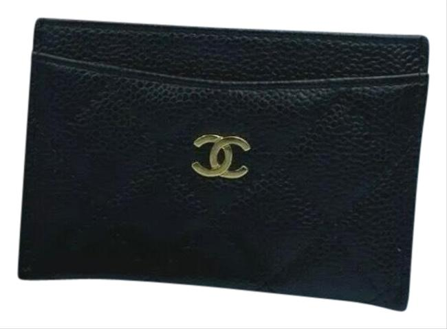 Item - Black with Gold Hardware Caviar Quilted Card Holder Wallet
