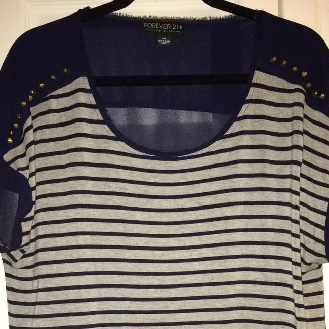 Forever 21 Top Navy/ Heather Gray