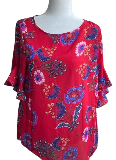 Item - Red Pink Ruffel Sleeve Floral Blouse Size 8 (M)