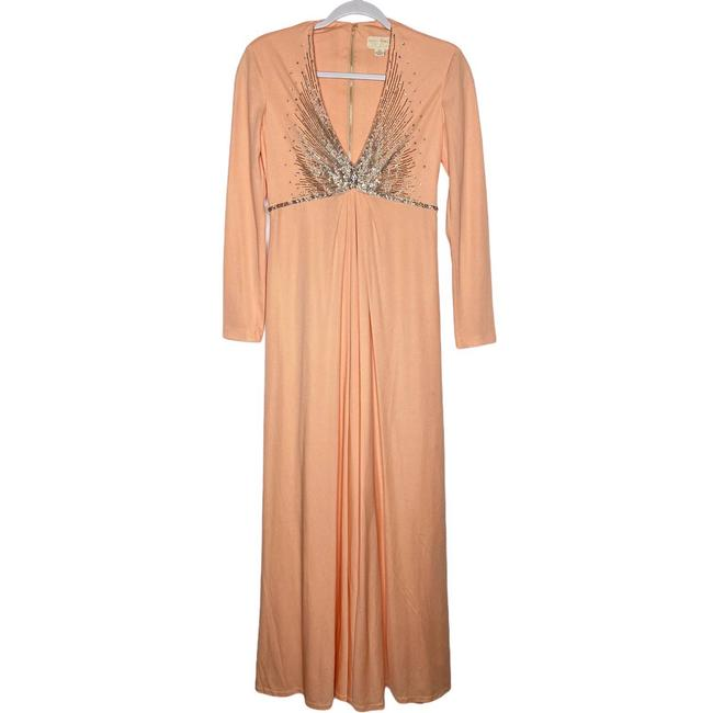 Item - Vintage Peach Beaded Gown Maxi Formal Dress Size 10 (M)