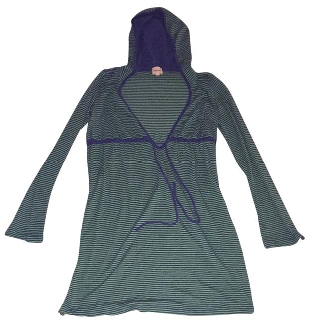 Ella Moss short dress Navy Blue and Green Stripe Beach Cover-up Hooded V-neck on Tradesy