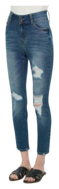 Item - Blue Distressed Double-button High-rise Skinny Jeans Size 25 (2, XS)