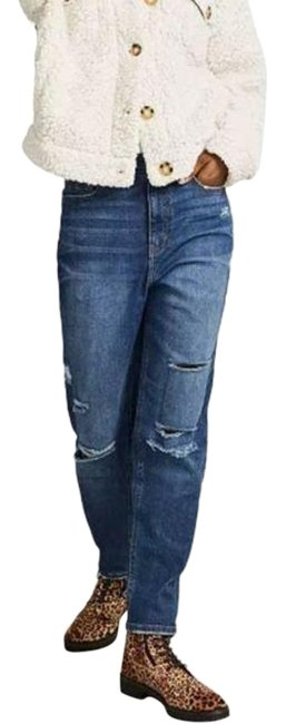 Item - Blue Distressed Super High-rise Destructed Relaxed Fit Jeans Size 29 (6, M)
