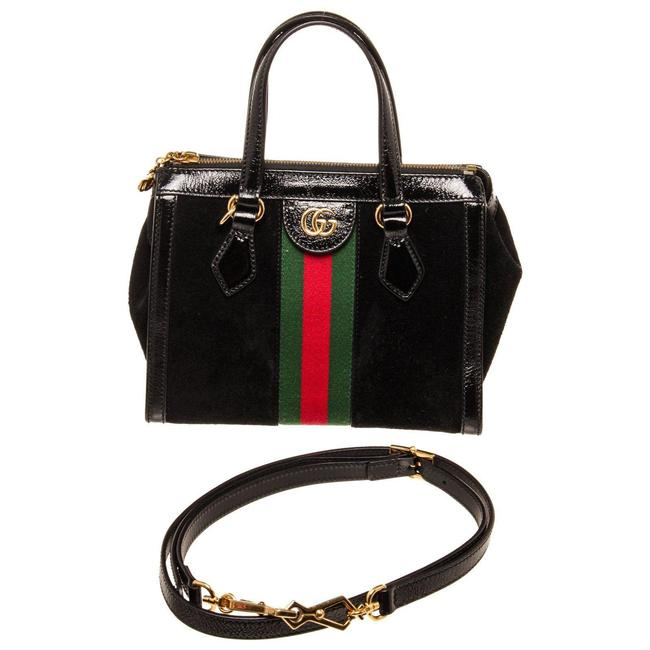 Item - Suede Ophidia Top Handle Black Patent Leather Cross Body Bag