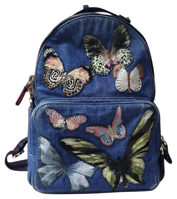 Item - Embroidered Butterfly Blue Denim Backpack
