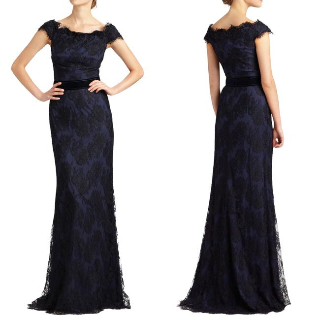 Item - Midnight Blue Lace Off The Shoulder Gown Long Formal Dress Size 10 (M)