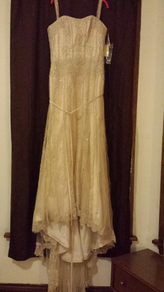 Maggie Sottero Champagne / Pewter Gatsby Retro Wedding Dress Size 14 ...