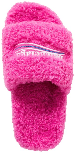 Item - Pink Furry Logo-embroidered Faux Shearling Slides Sandals Size EU 37 (Approx. US 7) Regular (M, B)