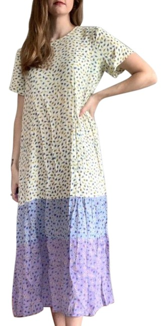 Item - Yellow Ombre Floral with Purple Bottom Long Casual Maxi Dress Size 6 (S)