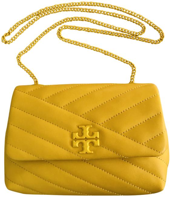 Item - Kira Chevron Quilted Small Convertible Yellow Leather Cross Body Bag