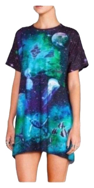 Item - Black Blue Galactic Ocean Slouched Mid-length Short Casual Dress Size 10 (M)