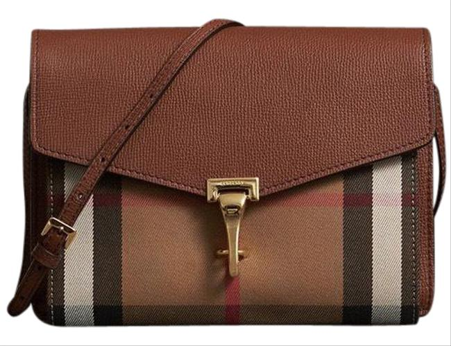 Item - Messager House Check Tan Leather Cross Body Bag