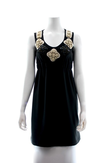 Item - Black Sleeveless Midi with Embellished Neck Small Mid-length Short Casual Dress Size 6 (S)