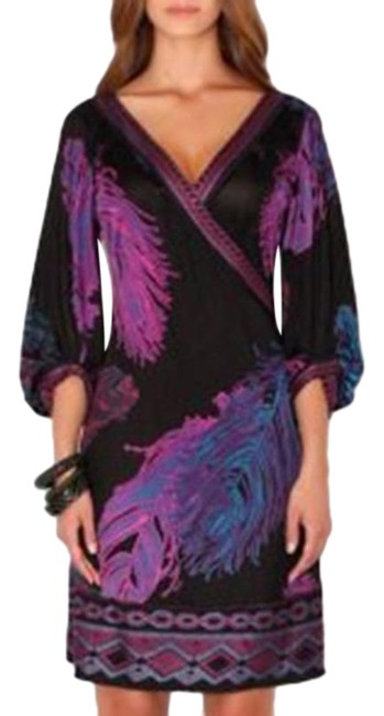 Item - Purple Black Jersey Birds Of A Feather Silk Faux Wrap Women's Small Mid-length Short Casual Dress Size 4 (S)
