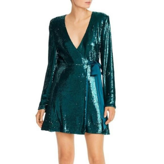Item - Green Sequined Wrap Mini Party Short Night Out Dress Size 2 (XS)