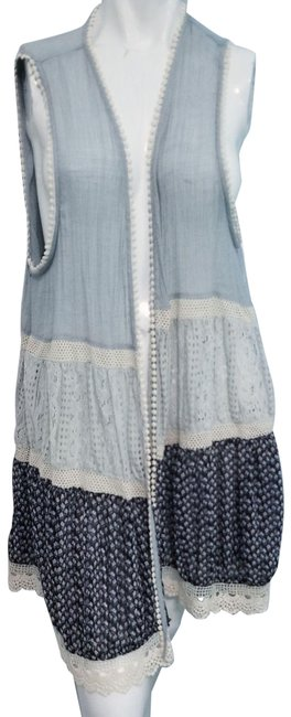 Item - Blue L Sleeveless Floral Patchwork and Lace Cardigan Size 14 (L)